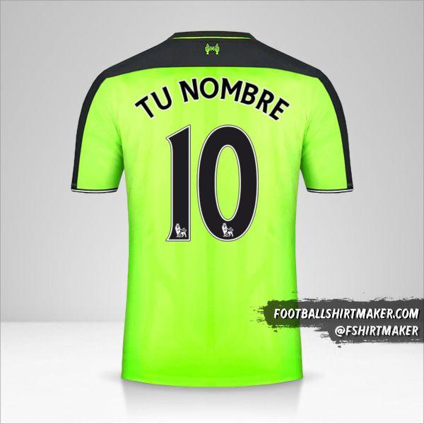 Camiseta Liverpool FC 2016/17 III número 10 tu nombre