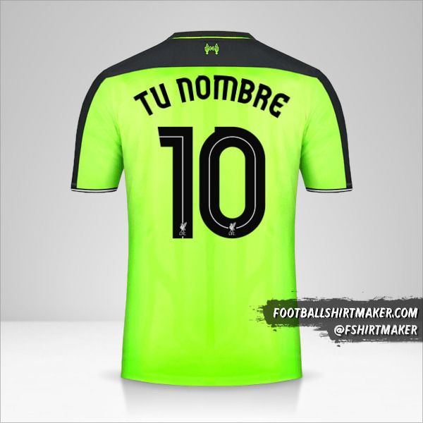 Camiseta Liverpool FC 2016/17 Cup III número 10 tu nombre