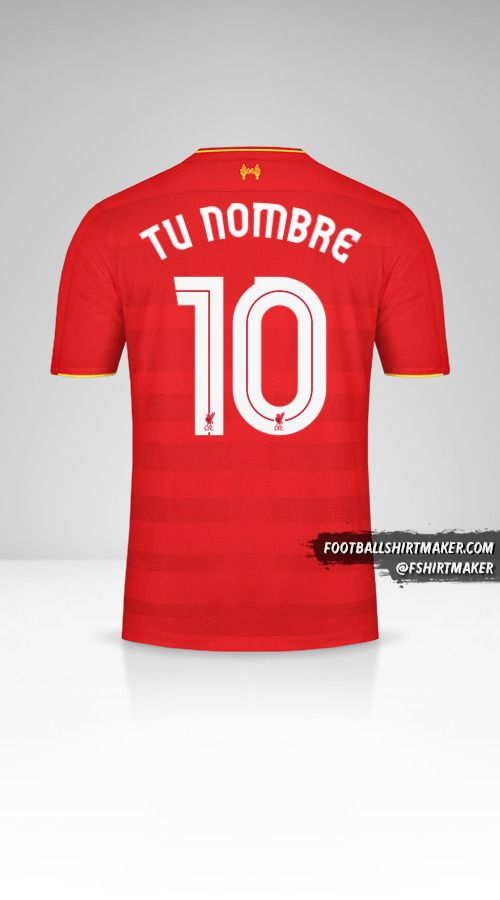 Camiseta Liverpool FC 2016/17 Cup número 10 tu nombre