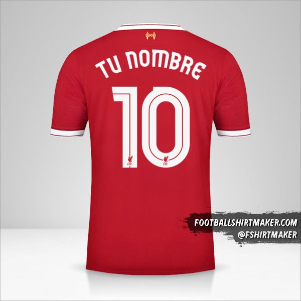 Camiseta Liverpool FC 2017/18 Cup número 10 tu nombre
