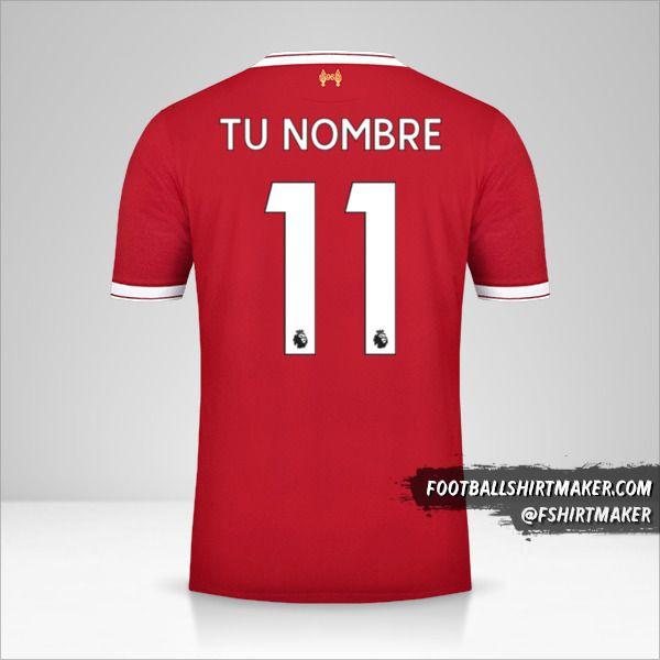 Camiseta Liverpool FC 2017/18 número 11 tu nombre