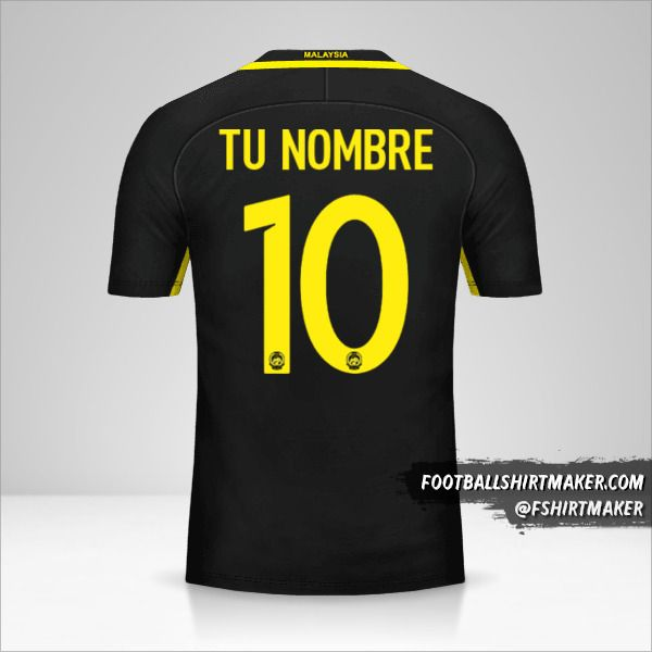 Camiseta Malasia 2016/17 número 10 tu nombre