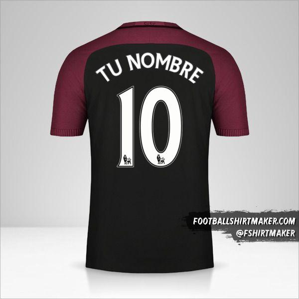 Camiseta Manchester City 2016/17 II número 10 tu nombre