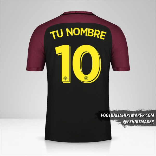Camiseta Manchester City 2016/17 Cup II número 10 tu nombre