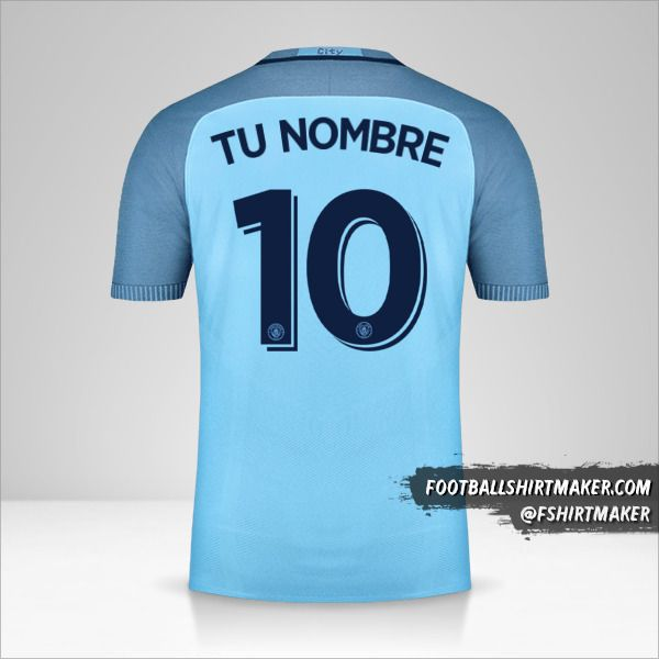 Camiseta Manchester City 2016/17 Cup número 10 tu nombre