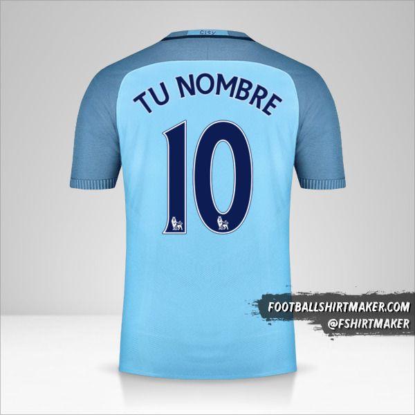 Camiseta Manchester City 2016/17 número 10 tu nombre