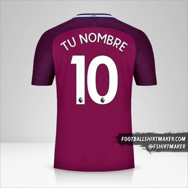Camiseta Manchester City 2017/18 II número 10 tu nombre
