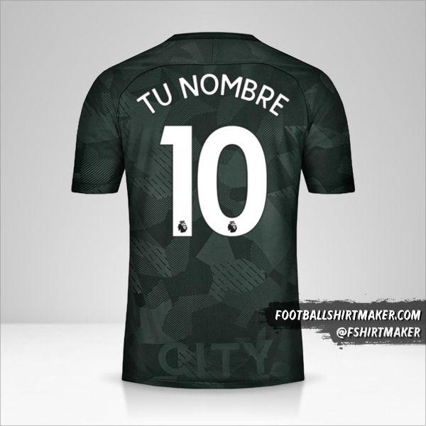 Camiseta Manchester City 2017/18 III número 10 tu nombre