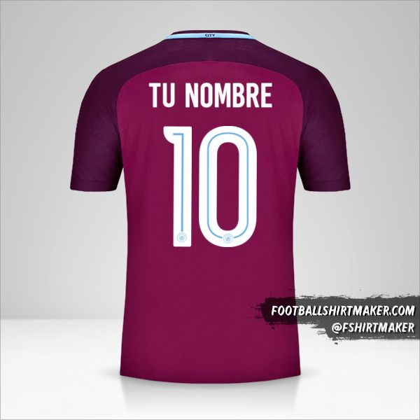 Camiseta Manchester City 2017/18 Cup II número 10 tu nombre