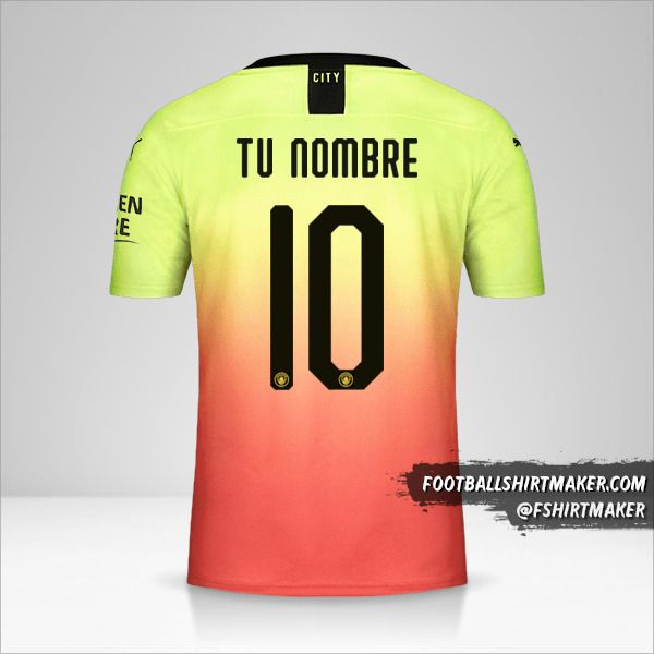 Camiseta Manchester City 2019/20 Cup III número 10 tu nombre