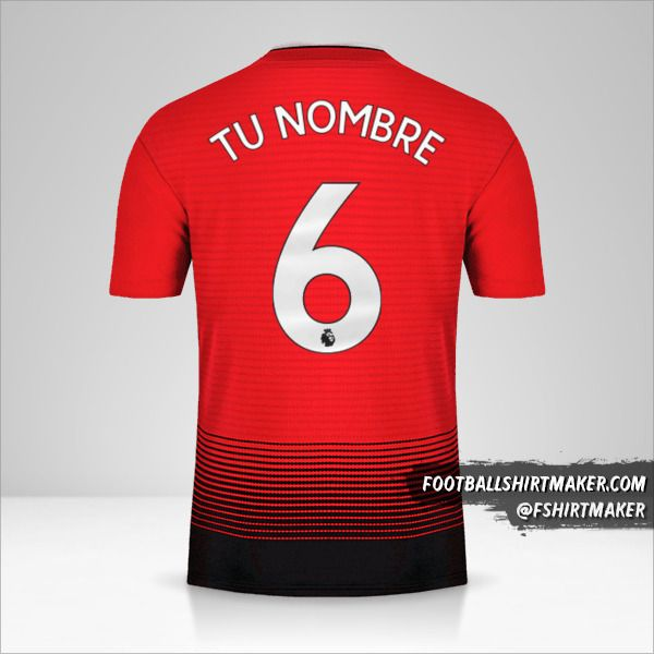 Camiseta Manchester United 2018/19 número 6 tu nombre