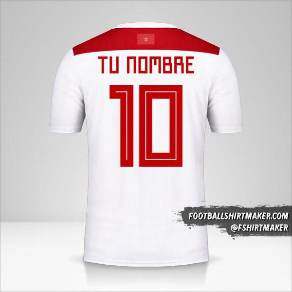 Camiseta Marruecos 2018 II número 10 tu nombre