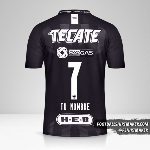 Camiseta Monterrey 2019/20 III número 7 tu nombre