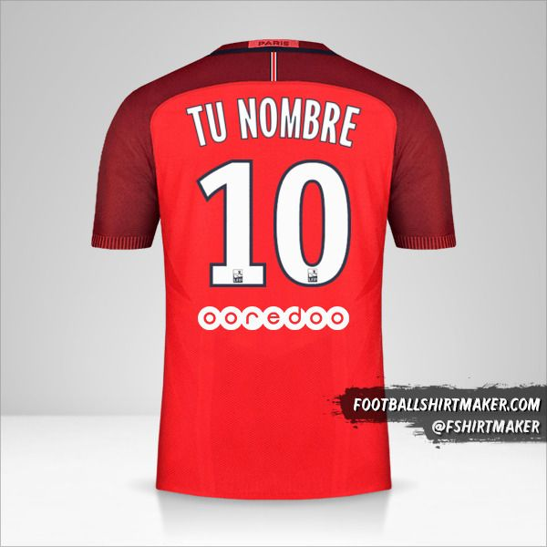 Camiseta Paris Saint Germain 2016/17 II número 10 tu nombre