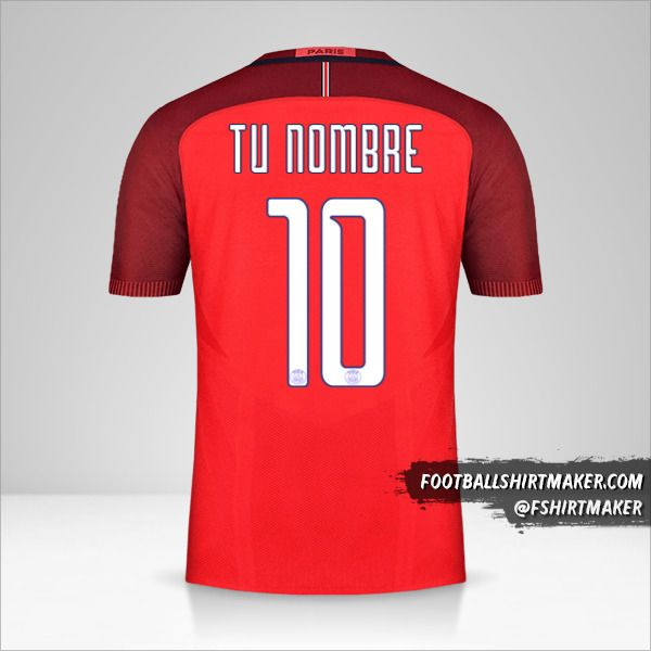 Camiseta Paris Saint Germain 2016/17 Cup II número 10 tu nombre