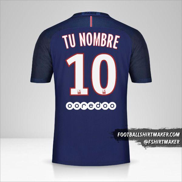 Camiseta Paris Saint Germain 2016/17 número 10 tu nombre