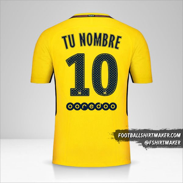 Camiseta Paris Saint Germain 2017/18 II número 10 tu nombre