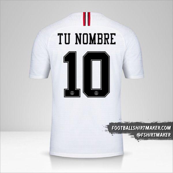 Camiseta Paris Saint Germain 2018/19 Jordan II número 10 tu nombre