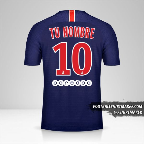 Camiseta Paris Saint Germain 2018/19 número 10 tu nombre