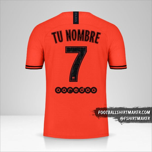 Camiseta Paris Saint Germain 2019/20 II Jordan número 7 tu nombre