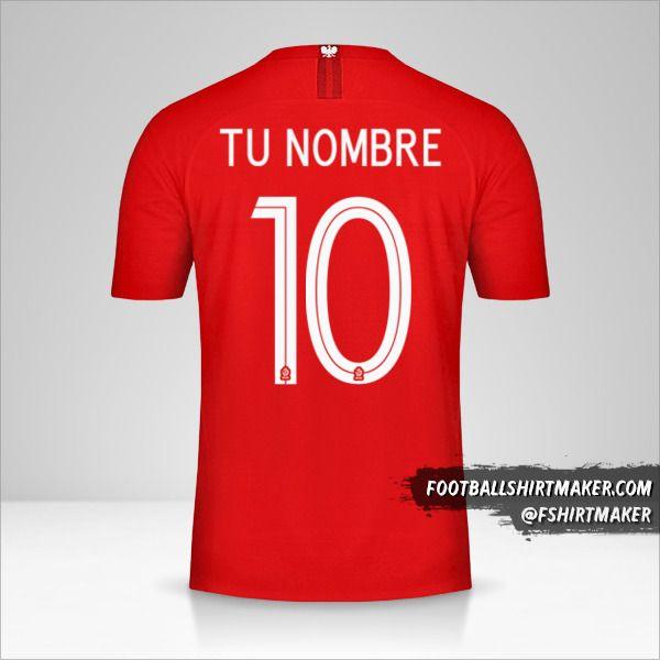 Camiseta Polonia 2018 II número 10 tu nombre