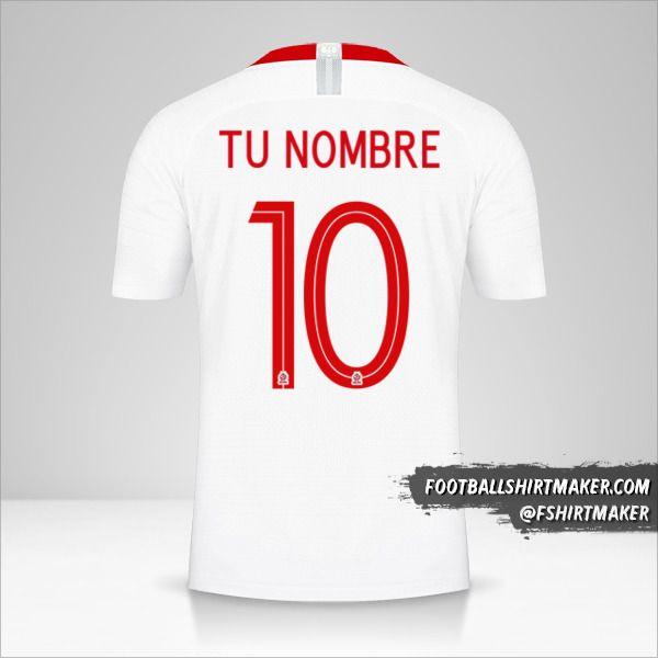 Camiseta Polonia 2018 número 10 tu nombre