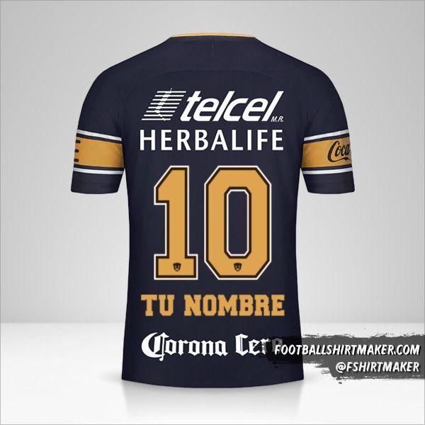 Camiseta Pumas UNAM 2017/18 II número 10 tu nombre