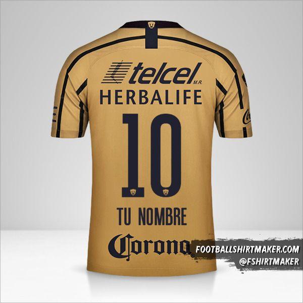 Camiseta Pumas UNAM 2018/19 II número 10 tu nombre