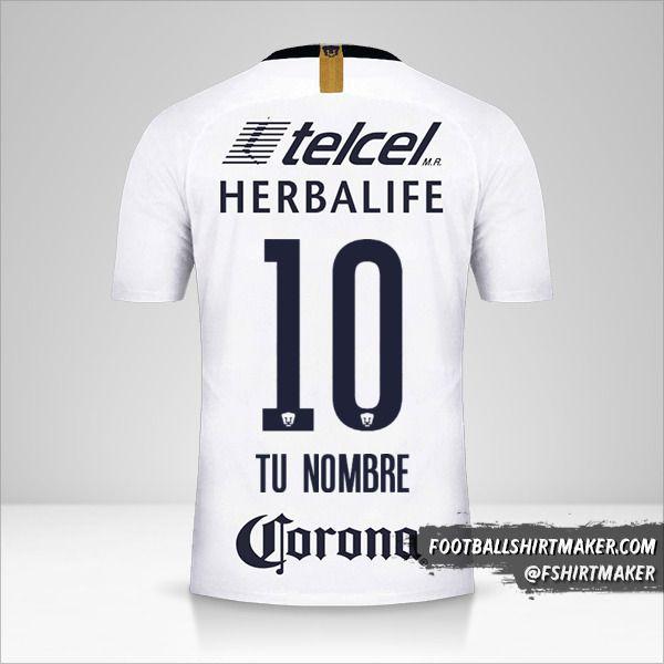 Camiseta Pumas UNAM 2018/19 número 10 tu nombre