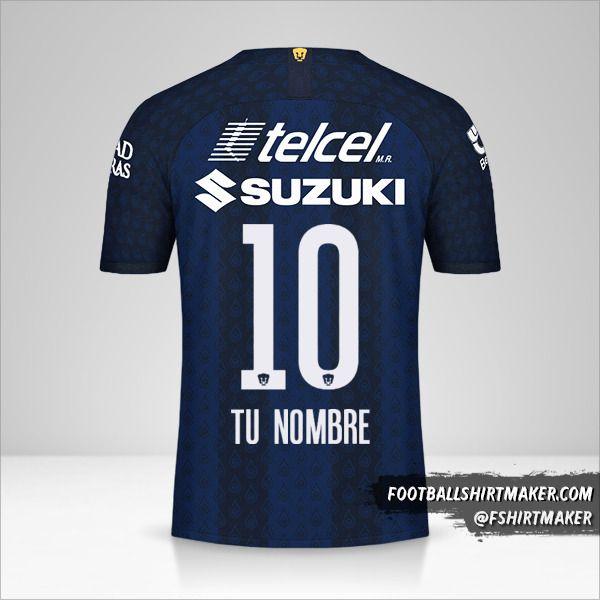 Camiseta Pumas UNAM 2019/20 II número 10 tu nombre