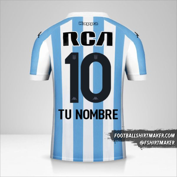Camiseta Racing Club 2018 número 10 tu nombre