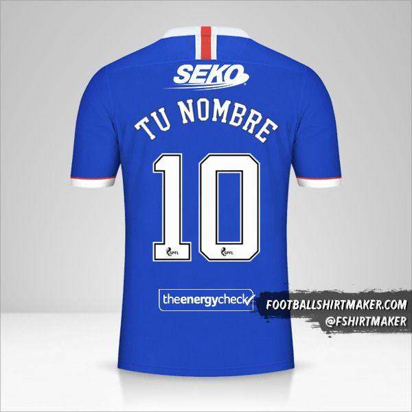Camiseta Rangers FC 2020/21 número 10 tu nombre