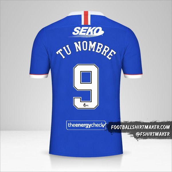 Camiseta Rangers FC 2020/21 número 9 tu nombre