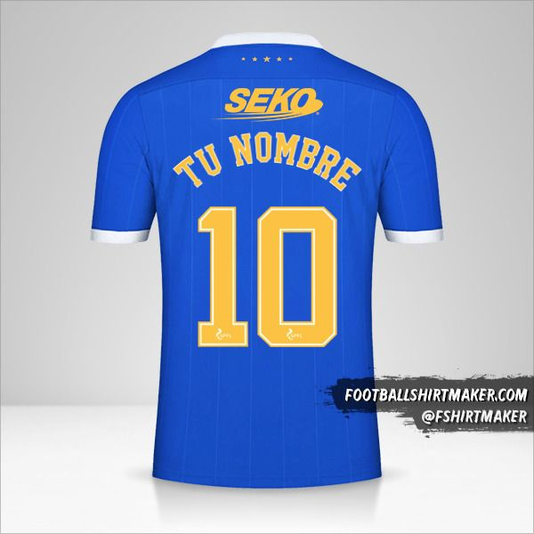 Camiseta Rangers FC 2021/2022 número 10 tu nombre