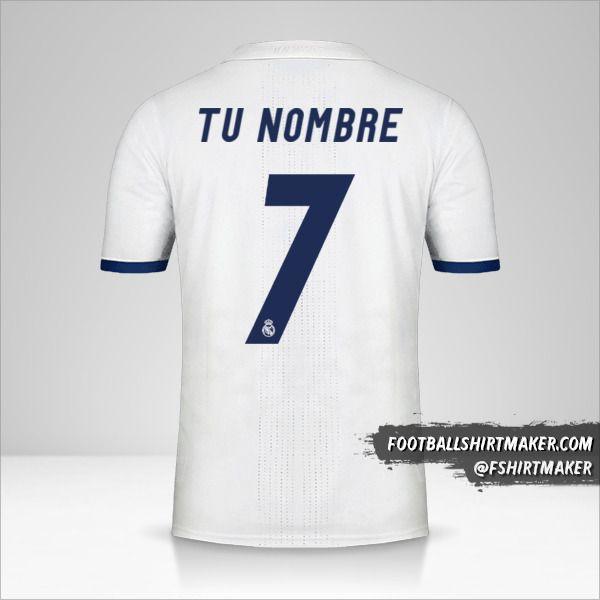 Camiseta Real Madrid CF 2016/17 número 7 tu nombre