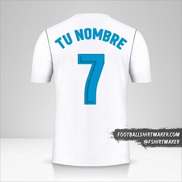 Camiseta Real Madrid CF 2017/18 número 7 tu nombre
