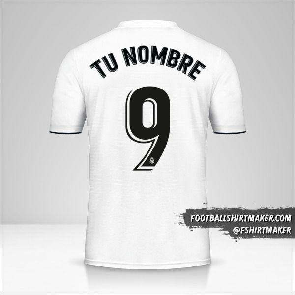 Camiseta Real Madrid CF 2018/19 número 9 tu nombre