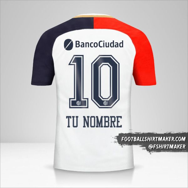 Camiseta San Lorenzo 2018 II número 10 tu nombre