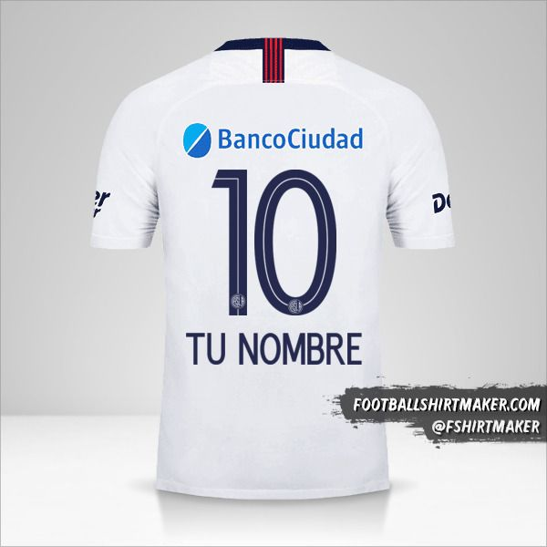 Camiseta San Lorenzo 2019 II número 10 tu nombre