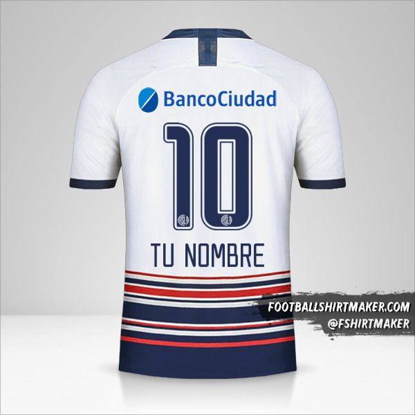 Camiseta San Lorenzo 2020 II número 10 tu nombre