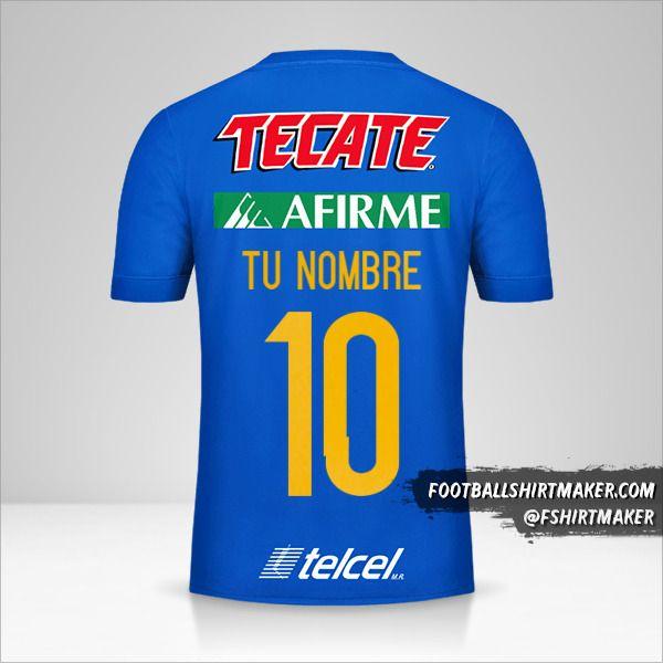 Camiseta Tigres UANL 2017/18 II número 10 tu nombre
