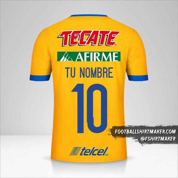 Camiseta Tigres UANL 2017/18 número 10 tu nombre