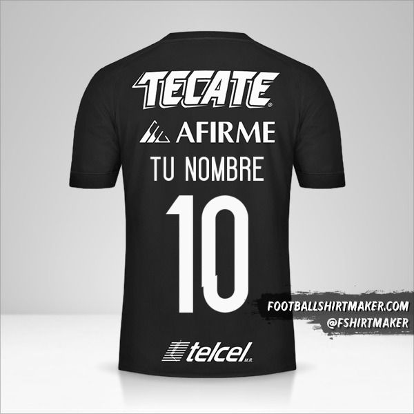 Camiseta Tigres UANL 2017 III número 10 tu nombre