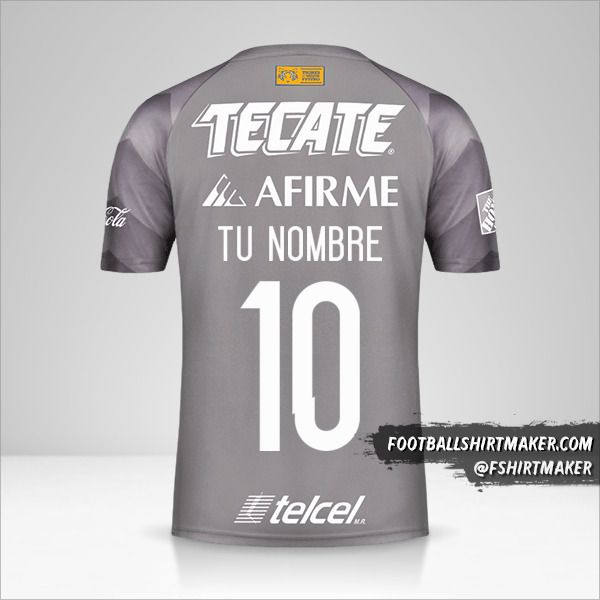 Camiseta Tigres UANL 2018 III número 10 tu nombre