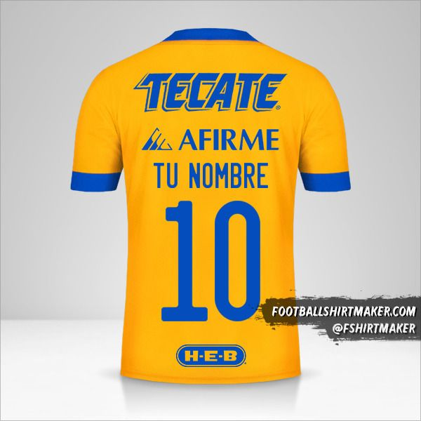 Camiseta Tigres UANL 2020/21 número 10 tu nombre