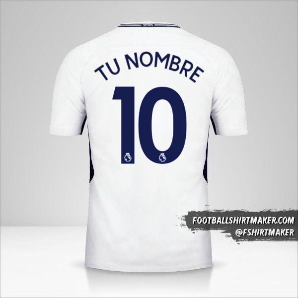 Camiseta Tottenham Hotspur 2017/18 número 10 tu nombre