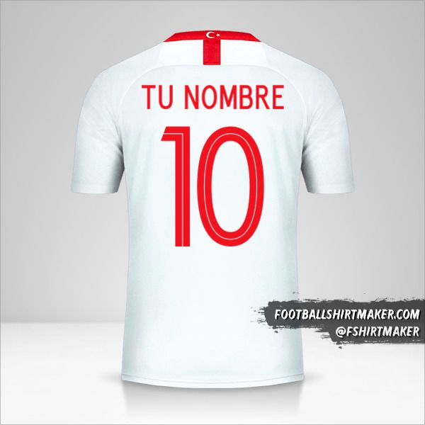 Camiseta Turquia 2018/19 II número 10 tu nombre