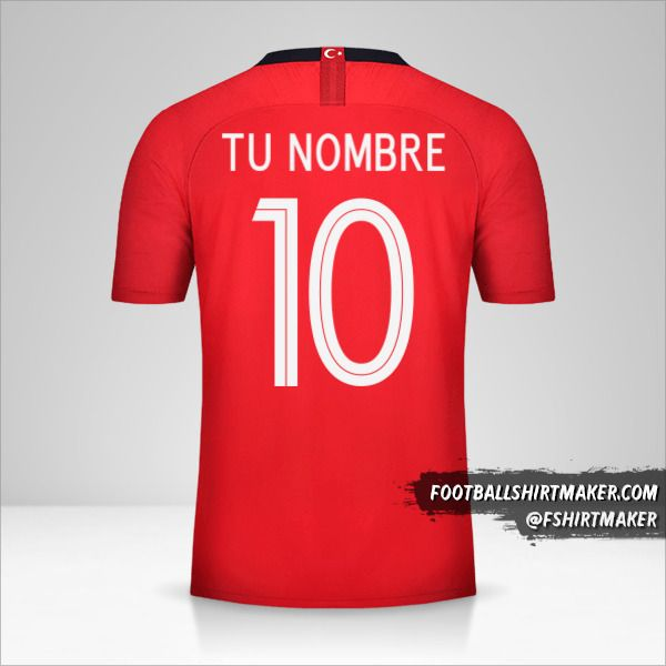 Camiseta Turquia 2018/19 número 10 tu nombre