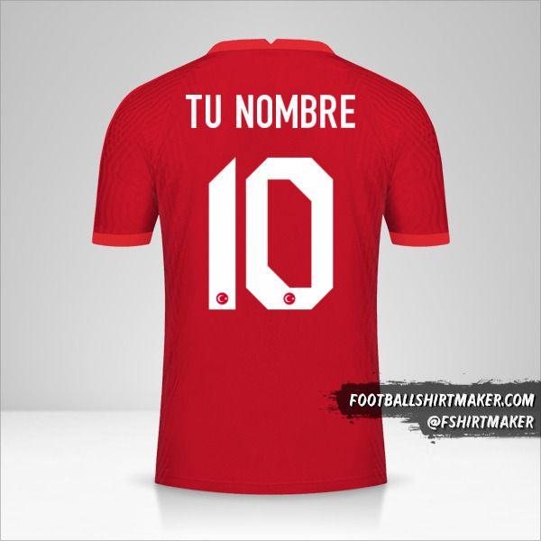 Camiseta Turquia 2020/2021 II número 10 tu nombre
