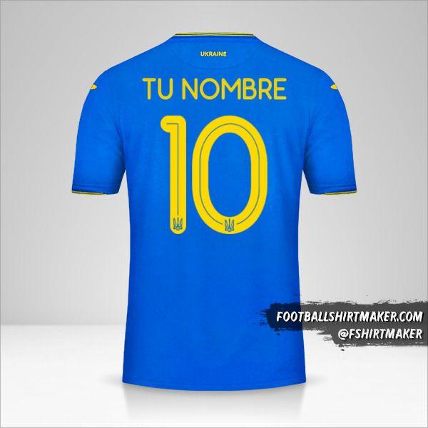 Camiseta Ucrania 2018/19 II número 10 tu nombre